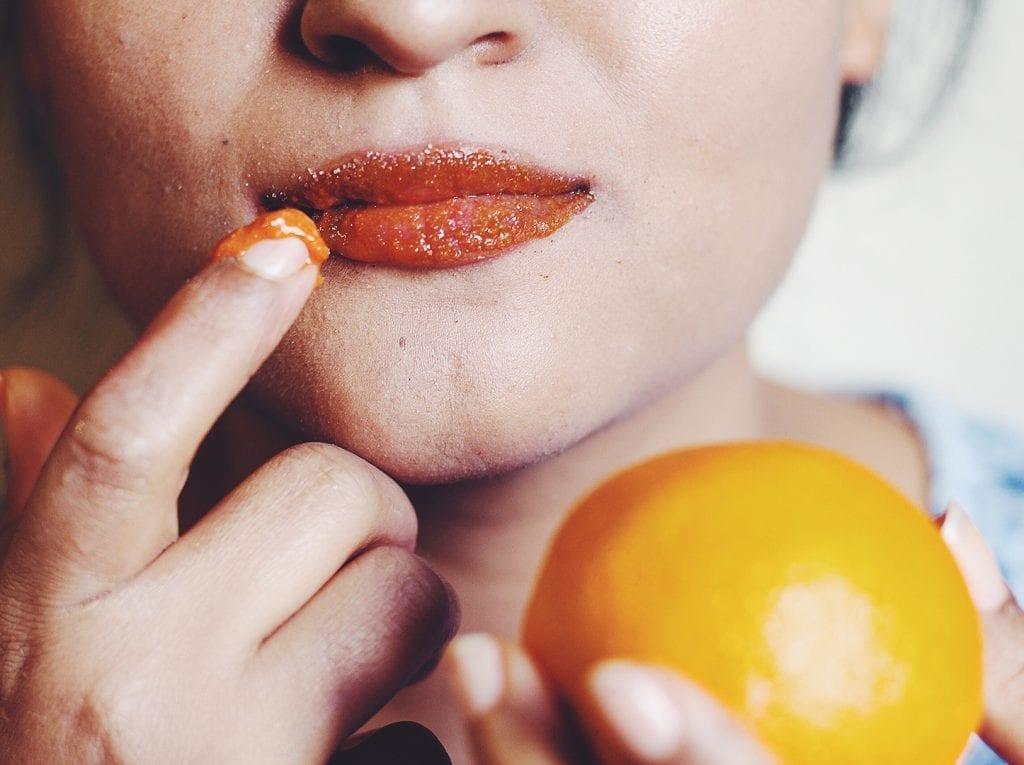 orange lip scrub