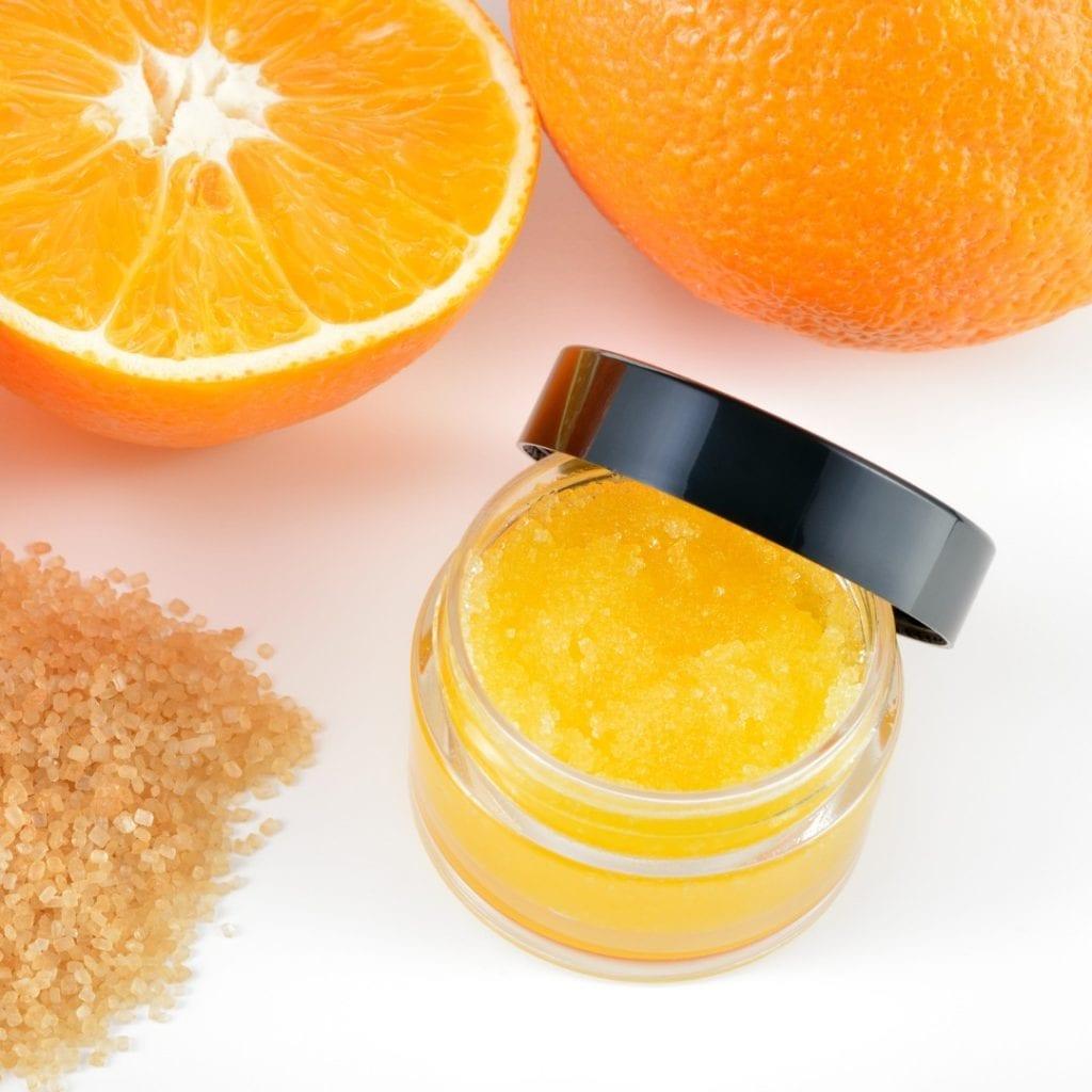 natural orange lip scrub